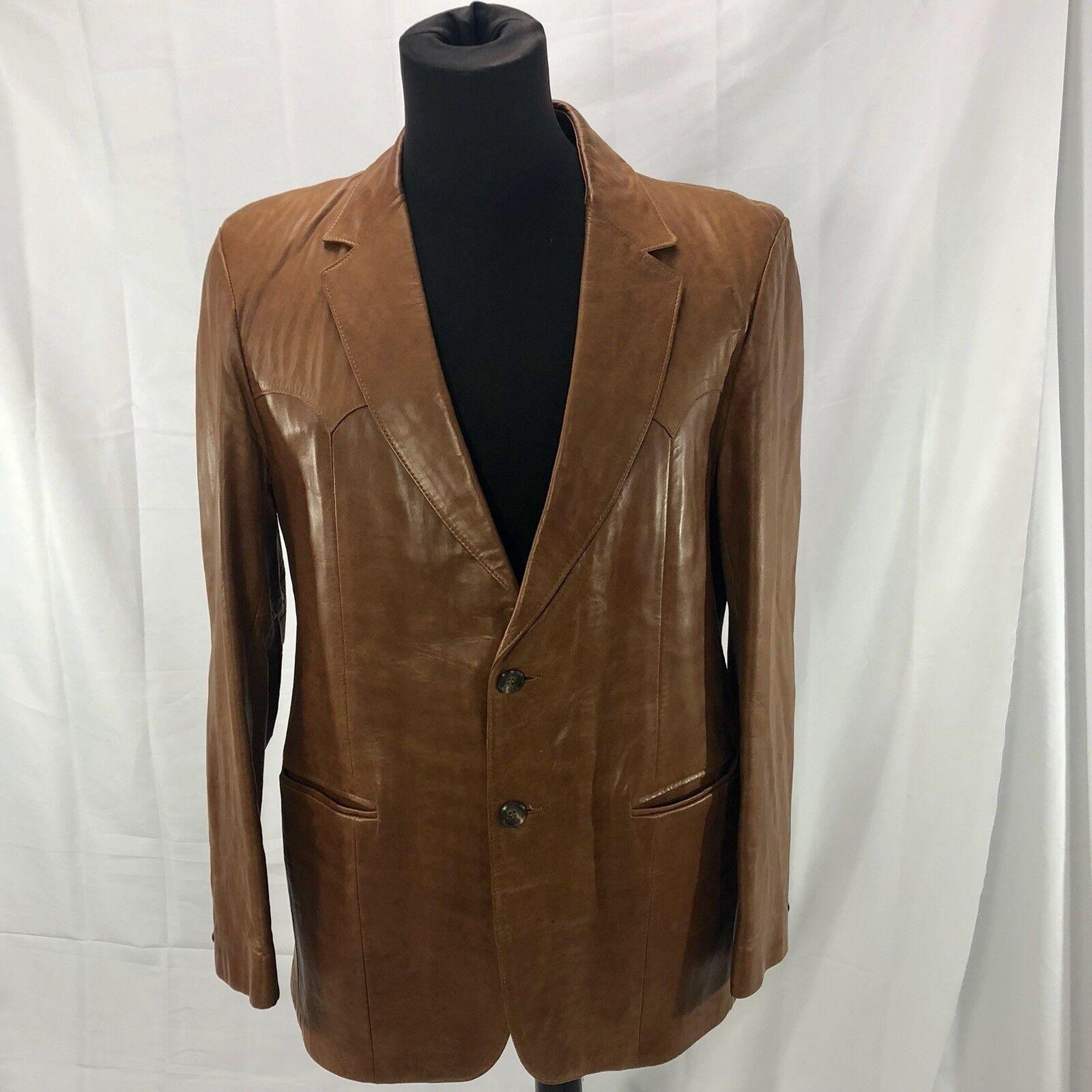 Vtg Scully Lederwear  Herren Tan Soft Leder Fancy Sport Western Cowboy SZ 44