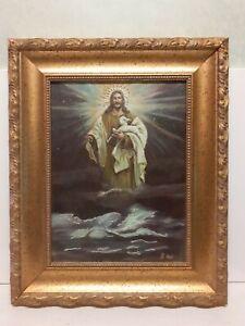 Quadro-dipinto-a-mano-cristo-gesu-Cornice-Stile-antico-cornice-oro-46x56-glitter