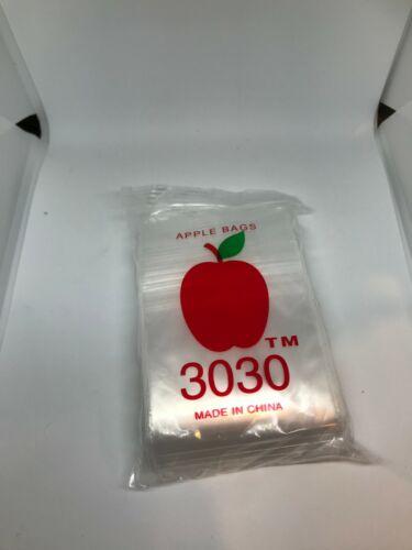 """Apple Baggies 3030 Apple Bags Ziplock Baggies Mini Bags 3/""""x3/"""" gram"""