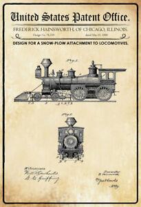 US-Patent-Eisenbahn-Railroad-1880-Blechschild-Schild-gewoelbt-Tin-Sign-20-x-30-cm