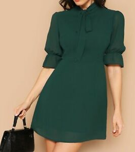 Bow-Neck-Stand-Collar-Flounce-Sleeve-Short-Sleeve-Fit-and-Flare-Dress-Casual