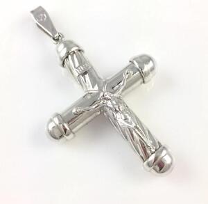 14k White Gold Polished INRI Rounded Crucifix Pendant
