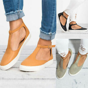 Ladies-Womens-T-Bar-Ankle-Strap-Sandals-Comfort-Round-Toe-Low-Flat-Walking-Shoes