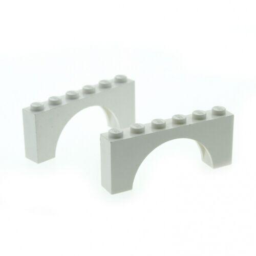 2 x Lego System Bogenstein weiss 1 x 6 x 2 Bögen rund Bogen Brücke Burg Tor Cast