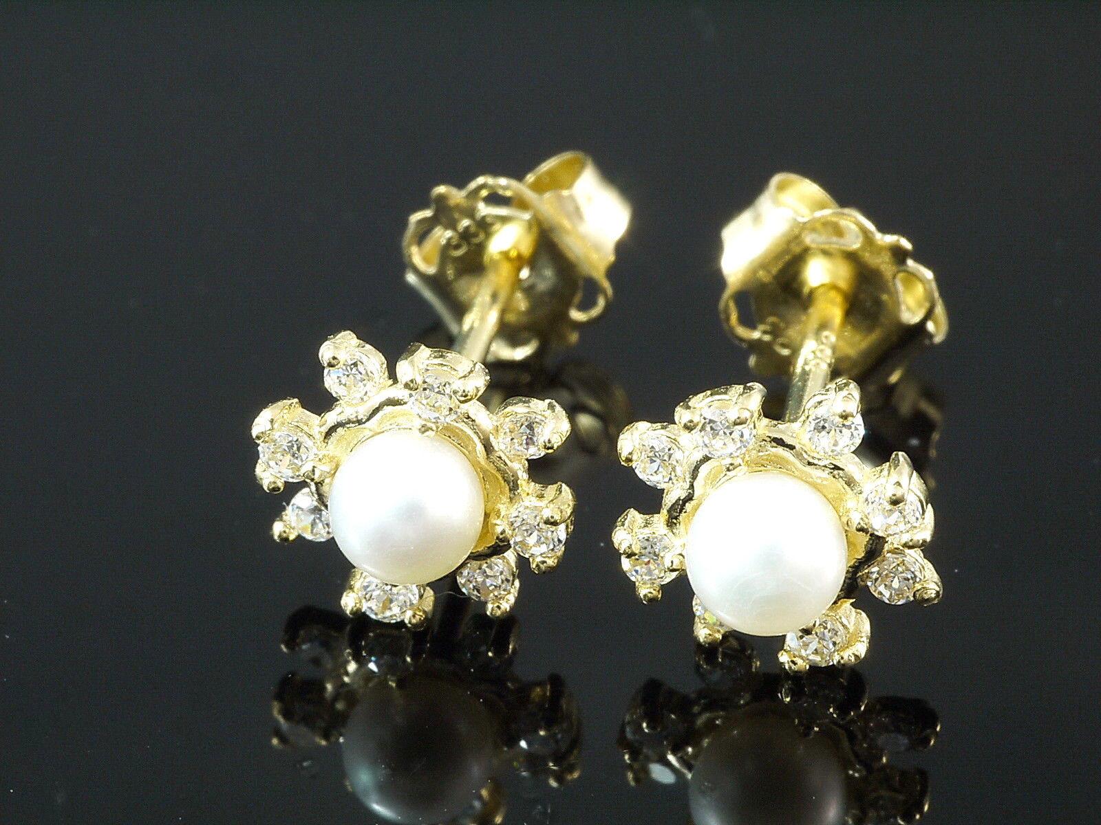 585 oro a Perno 6 6 6 8 mm Con Dolci Perle in 3 5 mm Dimensioni 7c0578