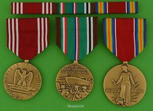 3-WWII-Army-Medals-amp-Ribbons-Good-Conduct-European-Theater-WW2-Victory-ETO