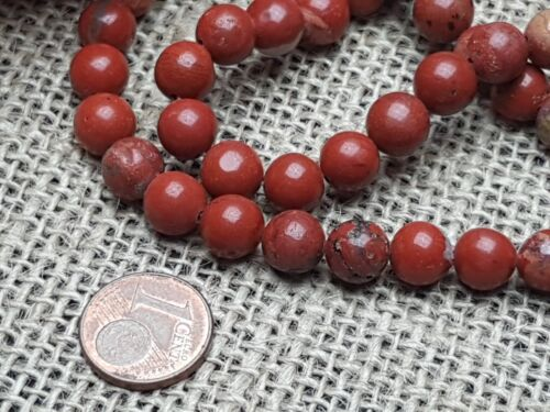 Strang 48 Pièce Gemme Gemstone Perles Rouge Marron Jaspis à partir de quelque Balle 8 mm
