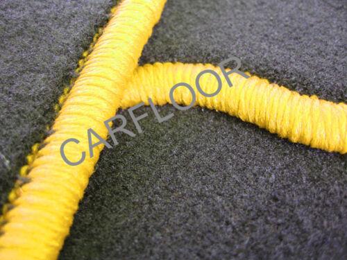Opel Calibra 8.90-07.97 Fußmatten Velours schwarz mit Rand gelb