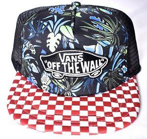 6a7c8a3c57959 VANS Off The Wall Floral Classic Patch Trucker Mesh Snapback Hat Cap ...