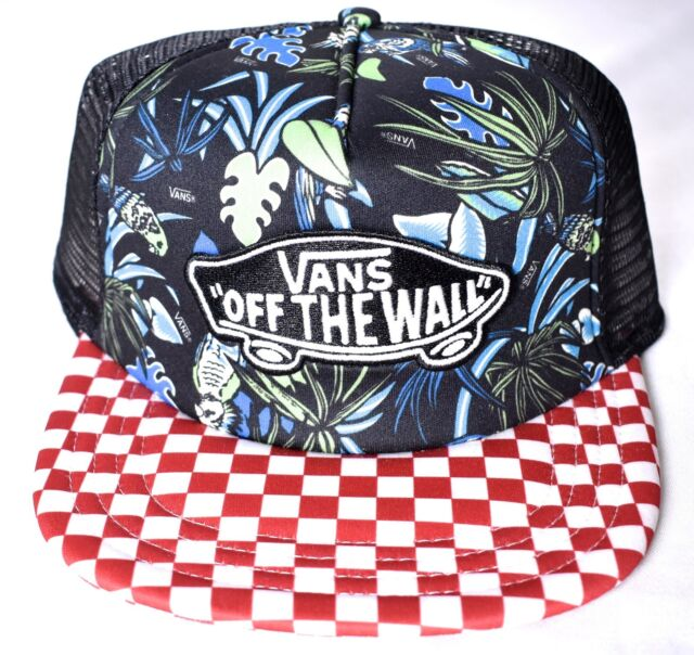 bb2b7ccf1 VANS off The Wall Classic Patch Checker Tropical Cap Trucker Red Blue White