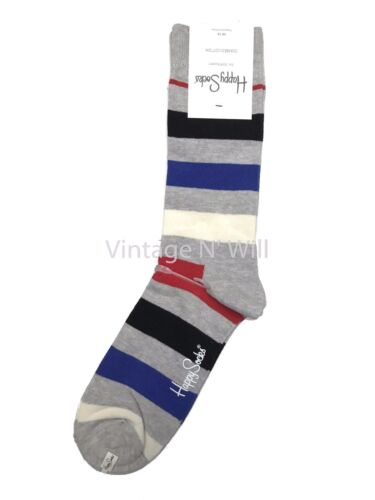 Happy Socks Mens 10-13 Shoe 8-12 Gray// Black// Blue// Red Striped Colorblock Crew