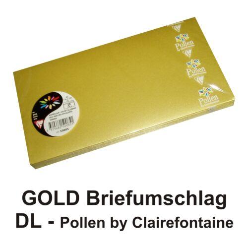 50 goldene Briefumschläge DIN Lang gold Kuverts Pollen by Clairefontaine 120g DL