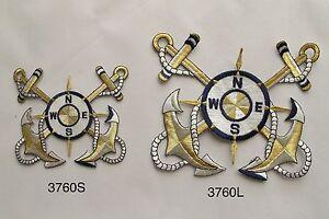 Nautical marine anchor compass embroidery iron on applique