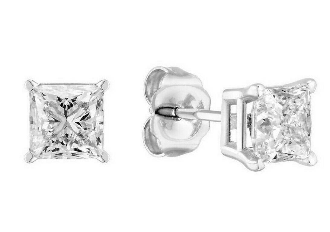 Solitaire Princess Diamonds 1.5 Ct Stud Earrings White gold 18k GIA Certified