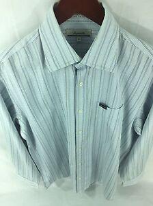 Faconnable-Mens-Medium-Light-Blue-Striped-Long-Sleeve-Button-Front-A-55