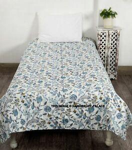 Floral Hand Block Kantha Quilt Cotton Hand Block bedspread Bedding King Size #