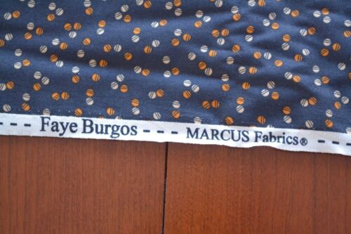 "Orange Tan on Navy Quilting Cotton /""Railroad Ties/"" Marcus//Burgos B28 By 1//2 Yd"