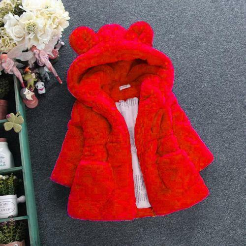 Toddler Kids Girl Baby Outerwear Faux Fur Hooded Winter Warm Coat Jacket Clothes