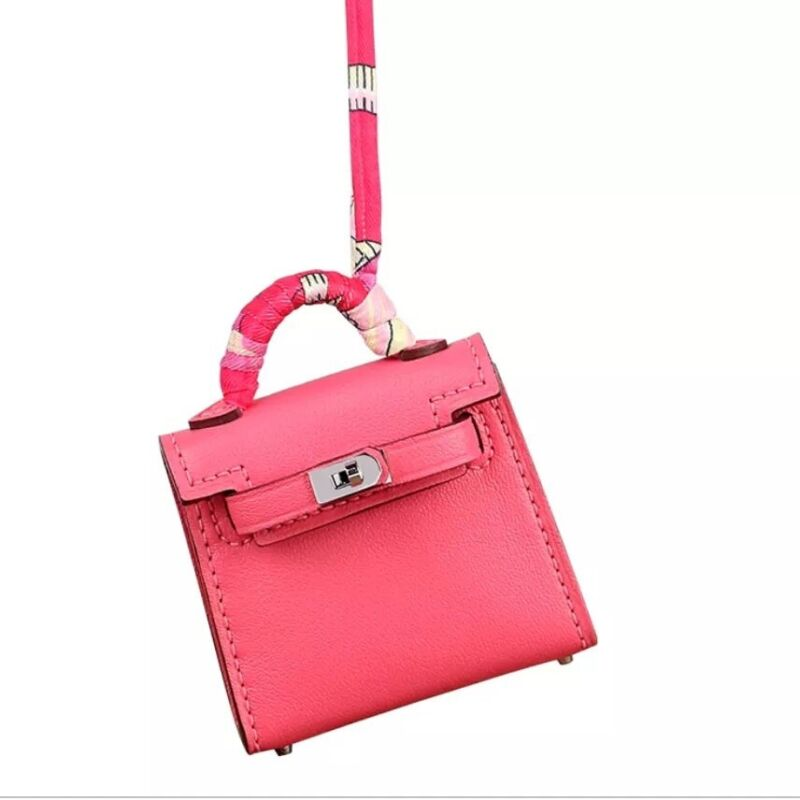 Capable Herme Micro Kelly Twilly Bag Charm Rose Pink Genuine Leather Handmade 100% Guarantee
