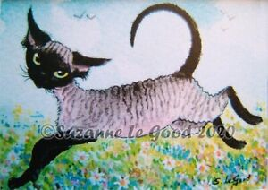 Devon-Rex-Cat-art-ACEO-print-mounted-from-original-painting-by-Suzanne-Le-Good