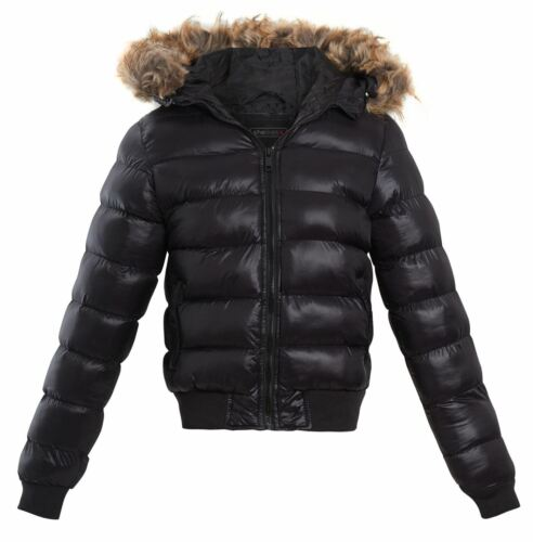 Girls Puffer Faux Fur Hood Quilted School Office Womens Jacket Winter Coat