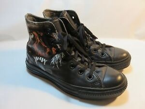 black leather converse high tops ebay