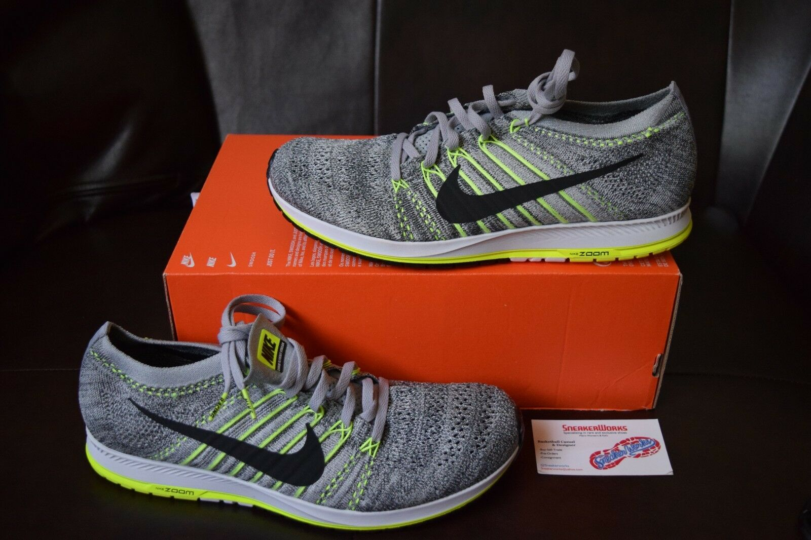 New Nike Flyknit Grey Streak Sz 4.5-10.5 Wolf Grey Flyknit Black Volt Green Runner 835994-007 60a6f8