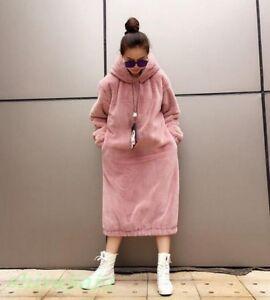 Hoodies Faux sciolto lungo Fur Rabbit cappuccio Inverno Donna Pullover Moda spesso con qUAXOO