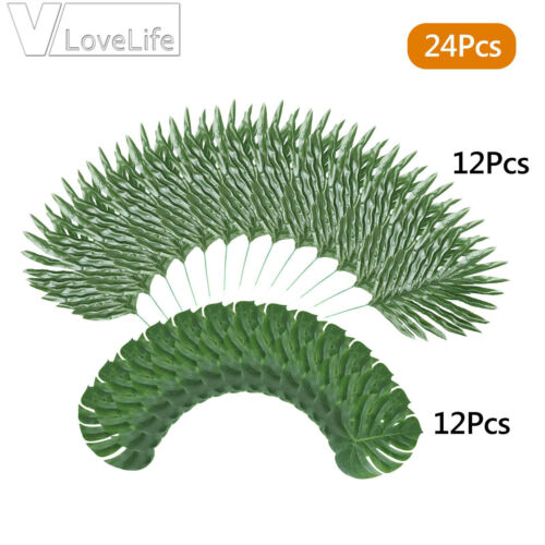 24Pcs Silk Artificial Leaves Plant Palm Tree Leaf For Wedding Party Home Decor
