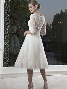 Formal-Bridal-Lace-Tea-Length-Wedding-Poem-Gown-Party-Dresses-Size-6-18