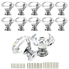 Crystal Glass Knob Cabinet Drawer Dresser Pull Decor Cupboard Handle Set of 12
