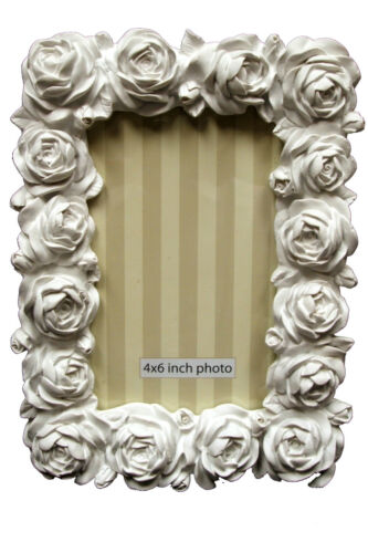 """Cadre Photo 15x10cm Rose Blanche /""""Heart of house/"""" Flora 6/""""x 4/"""""""