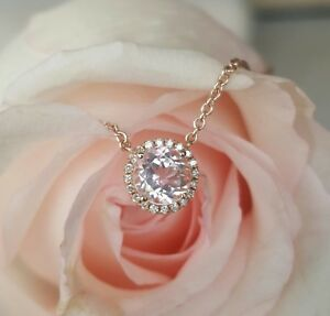 0-90ct-Morganite-and-0-06tcw-Diamond-Pendant-Necklace-18ct-18k-Rose-Gold-by-CTJ