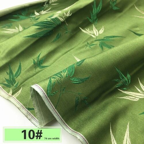 Chinese Damask Fabric Faux Silk Peacock Jacquard Brocade Cloth By Meter Vintage