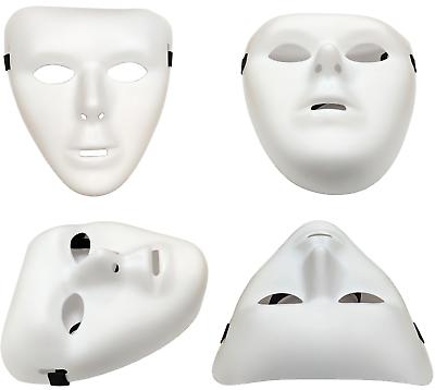 2 X Bianche Tinta Unita Opache Plastica Maschera Verniciabile Halloween