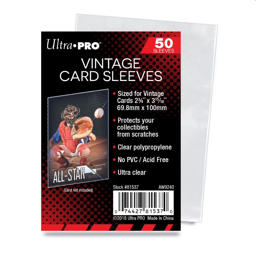 Details about (100) Ultra Pro Vintage Card Sleeves Acid Free No PVC  1952-1956 Topps / Bowman