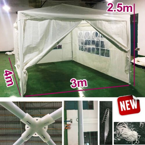 Large 3x4m PE Gazebo Garden Marquee Party Tent Canopy Heavy Duty Metal Frame NEW