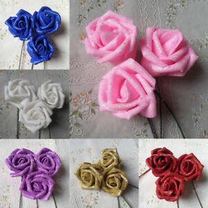 1-50Pcs Glitter Foam Rose Flowers Bride Bouquet Wedding Party DIY Decor Supply
