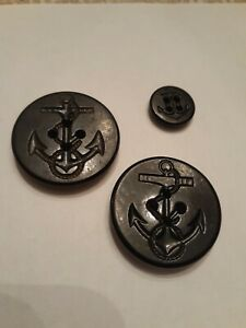 Vintage-Pea-Coat-Navy-Buttons-Lot-of-3-Black-LN-Anchor-Rope