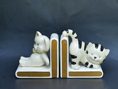 Vintage Lefton Cat And Mouse Ceramic Bookends Ebay