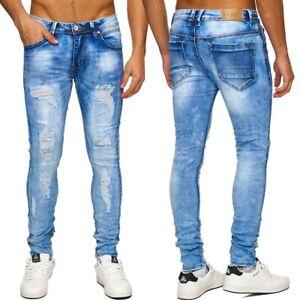 Herren-Jeans-Hose-zerschnitten-Destroyed-Denim-Zerrissen-Cout-out-ripped-frayed