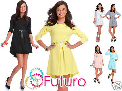 2019 Mode Party Asymmetric Skater Dress With Bow & Zip 3/4 Sleeve Tunic Sizes 8-14 Ft1889 100% Garantie