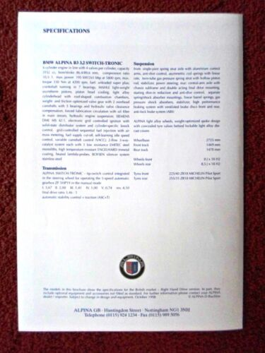 BMW ALPINA B3 3.2 SWITCH-Tronic ORIG 1998 SALES BROCHURE 3 SERIES SALOON
