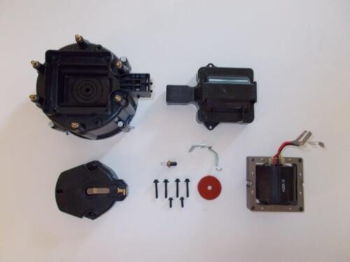 6 CYLINDER BLACK HEI Distributor Cap,Coil Cover /&  Rotor Kit /& 65k Volt Coil V6