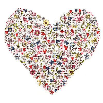 Bothy Threads LOVE HEART cross stitch kit
