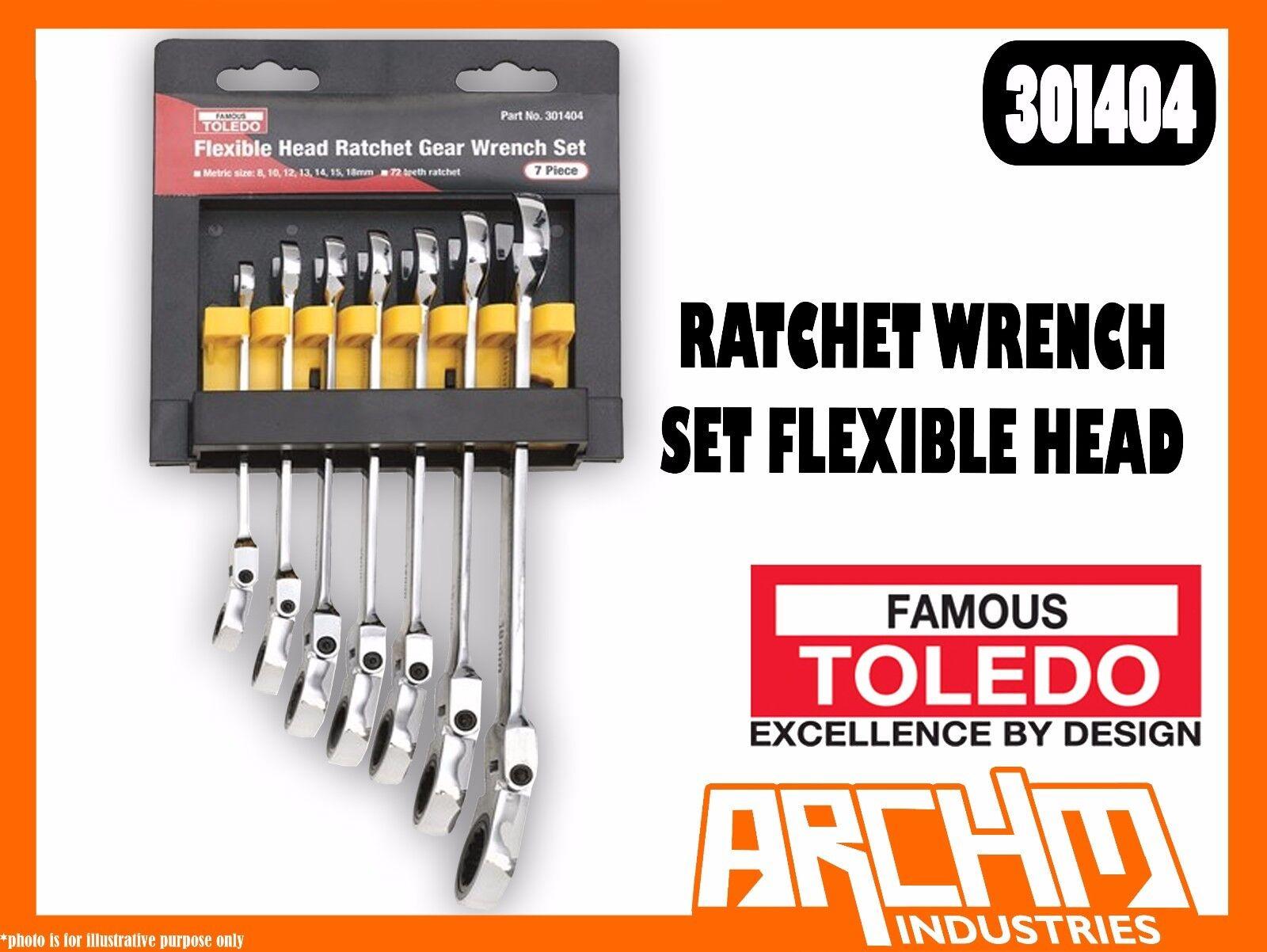 TOLEDO 301404 - RATCHET WRENCH SET FLEXIBLE HEAD - METRIC 7 PC. 8-18MM RING OPEN