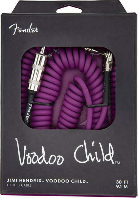 Genuine Fender 30/' Hendrix Voodoo Child Coiled Right-Angle Guitar Cable PURPLE