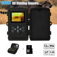 16gb 12mp 1080p Hunting Camera Trail Scouting Night Vision Led Infrared+bag Farm