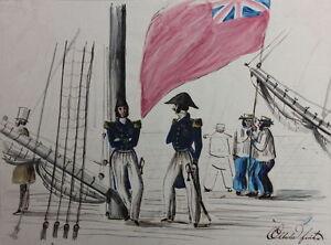 Englische Marine-Offiziere Royal Navy , Aquarell, um 1830 - Pirmasens, Deutschland - Englische Marine-Offiziere Royal Navy , Aquarell, um 1830 - Pirmasens, Deutschland