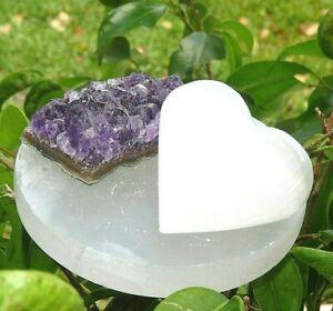 Meditation-Kit-Selenite-Disc-Plate-Amethyst-Selenite-Heart-Reiki-Healing-Crystal